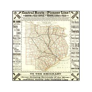 Railroad Map Of Texas.Texas Central Route And Pioneer Line County Railroad Map 1875 For