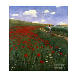 Szinyei Merse Pal Meadow With Poppies Large Canvas Art Print