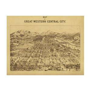 Vintage Map Of Central City Colorado Drawing By Mountain Dreams