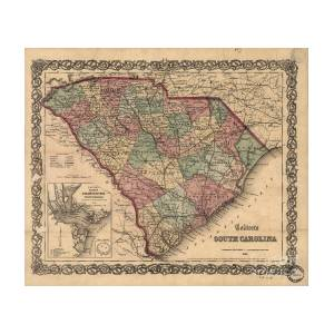 Vintage South Carolina Map.Vintage South Carolina Map Photograph By Dale Powell