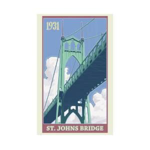 6d2e555c710 Vintage St. Johns Bridge Travel Poster Digital Art by Mitch Frey