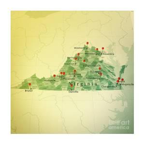 Virginia Map Square Cities Straight Pin Vintage