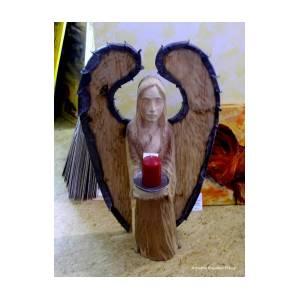 Wooden angel sculpture by frajny arkadius boguslaw