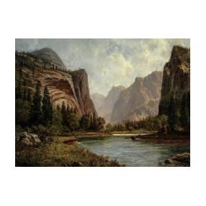 CATHEDRAL ROCKS YOSEMITE VALLEY CALIFORNIA 1872 PAINTING ALBERT BIERSTADT REPRO