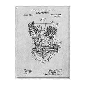 1914 Spacke V Twin Motorcycle Engine Patent Print Art Drawing Poster