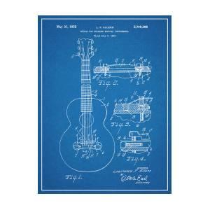 1952 Gibson Guitar Bridge Patent Print Blueprint by Greg Edwards