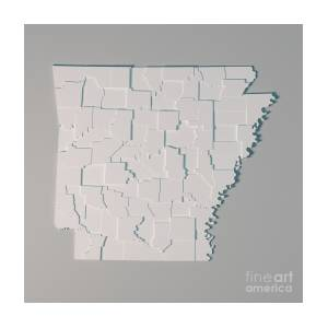 Arkansas Us State Map Administrative Divisions Counties 3d Rende ...