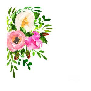 Beautiful Floral Hand Drawn Watercolor Digital Art By Vector Ann