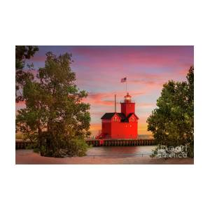 Big Red Lighthouse In Holland, Michigan Photograph by