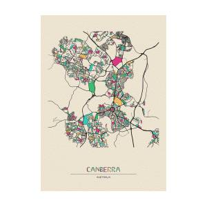 Map Canberra Australia.Canberra Australia City Map By Inspirowl Design