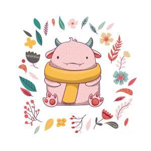Cute Fluffy Monster With Horns Digital Art By Maria Sem