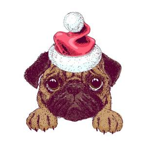 41de5ec44b790 Cute Pug In A Christmas Santa Hat Digital Art by Louise Lench