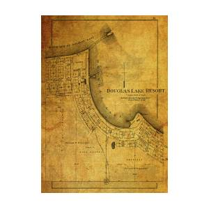 Douglas Lake Resort Michigan Map On Distressed Vintage Canvas by Design  Turnpike
