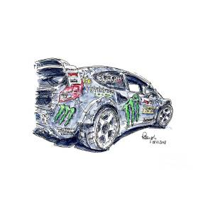 Ford Fiesta St Rx43 Gymkhana Racecar Ink Drawing And Watercolor By Frank Ramspott