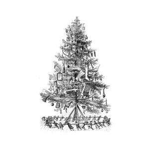 kids dancing around christmas tree vintage art black and white line art old art