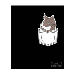Cute Cat Pocket Norwegian Forest Cat Kitten Gift Digital Art By Muc Designs