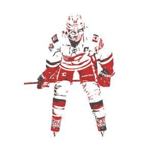 Jarome Iginla Calgary Flames Watercolor Strokes Pixel Art 2 Mixed Media By Joe Hamilton