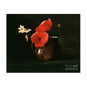 Fine Art PrintPoster Poppies and Daisies by\u00a0Odilon Redon