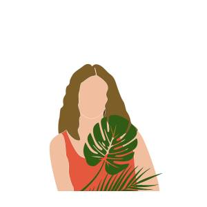 Tropical Reverie 18 Modern Minimal Illustration Girl And Palm Leaves Aesthetic Tropical Vibes Mixed Media By Studio Grafiikka