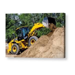 Wheel Loader Moving Dirt - Neon Acrylic Print by Gary Whitton