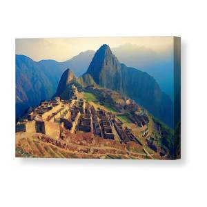 07207008f Machu Picchu Late Afternoon Sunset Canvas Print / Canvas Art by Elaine  Plesser