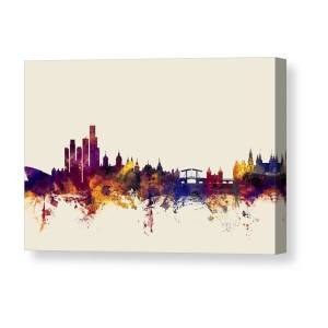OLD AMSTERDAM NETHERLANDS CITYSCAPE BUILDINGS PAINTING ART REAL CANVAS PRINT