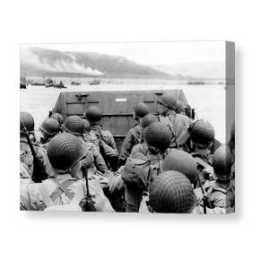 American troops approaching Omaha Beach Giclee Canvas Print