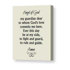 angel of god guardian angel prayer canvas print canvas art by classically printed