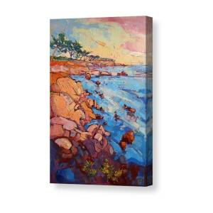 ROCKY COAST SEA OCEAN AT SUNSET THICK OIL STROKES PAINTING ART REAL CANVAS PRINT