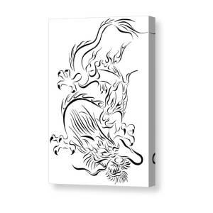 47fc22e0e Tribal Line Chinese Dragon 1 Canvas Print / Canvas Art by Tina Barnash