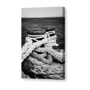 Mooring Ropes On Old Metal Harbour Bollard Scotland Canvas