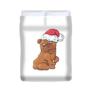 0526472253b69 Cute Pug In Snow With A Santa Hat On Duvet Cover for Sale by Louise Lench