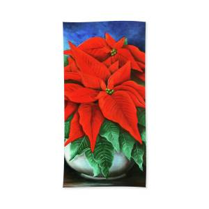 Red Poinsettia In Copper Pot Beach Towel For Sale By Claire Bone