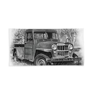 Willys Jeep Pickup Truck - Paint Beach Towel for Sale by