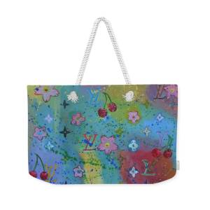 Teal and Orange SPINNING FLOWERS Weekender Bag
