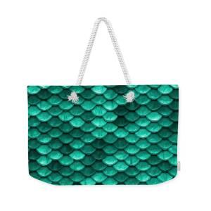 Green Mermaid Scales Weekender Bag