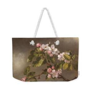 Brown Flower Blossoms Weekender Bag