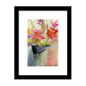 8ec56c1facc Zinnias In A Vase Watercolor Paintings Of Flowers Framed Print by Beverly  Brown