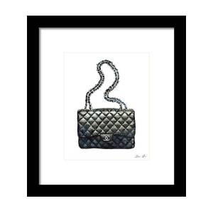 89f7a86cf412 Chanel Quilted Handbag Classic Watercolor Fashion Illustration Coco Quotes  Framed Print by Laura Row