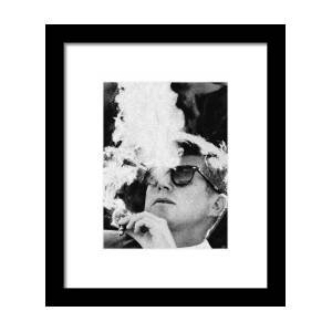 67b538e02b John F Kennedy Cigar And Sunglasses Black And White Framed Print by Tony  Rubino