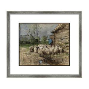 Mauve Herdess With Cows Country Road Rain Painting Square Framed Mountless Art