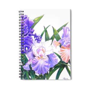 Three Irises 1 Spiral Notebook For Sale By Laura Wilson