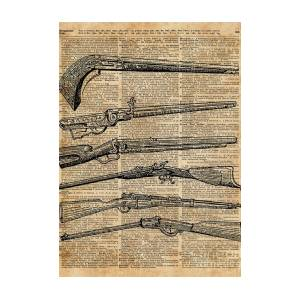 Steampunk Gun Dictionary Art Print Poster Picture Vintage Pistol Revolver Gift
