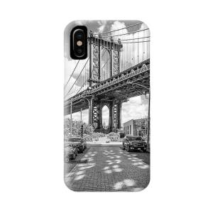 Night Skyline Manhattan Brooklyn Bridge Bw Iphone X Case For