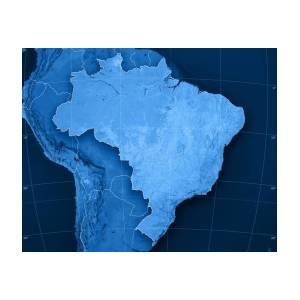 Brazil Topographic Map Poster By Frank Ramspott