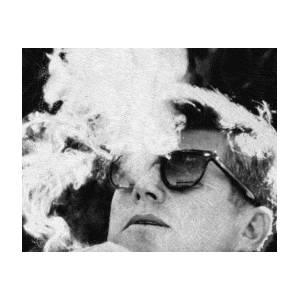 a7f61da205 John F Kennedy Cigar And Sunglasses Black And White Poster by Tony Rubino