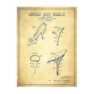 73f0aa63d6 Shoes And Heels Patent From 1958 - Blueprint Poster by Aged Pixel