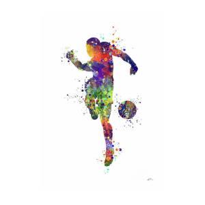 ed2b48ddfd6 Soccer Player 2 Sports Art Print Watercolor Print Soccer Illustration  Football Art Poster Poster by Svetla