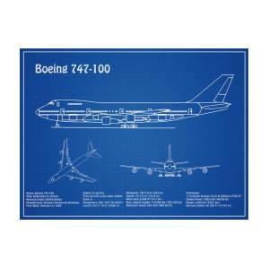 Boeing 747 - 100 - Airplane Blueprint  Drawing Plans Or Schematics