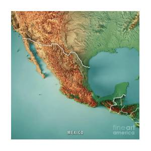 Mexico Topographic Map Art Print by Frank Ramspott